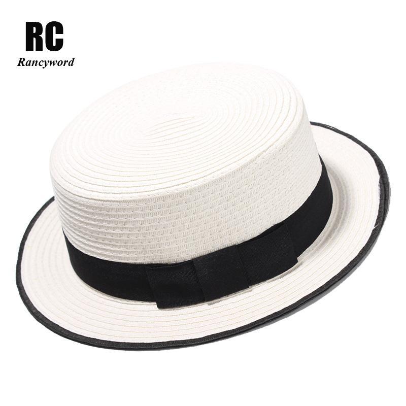 Rancyword Fashion Flat Top Sun Hat Women S Bow Straw Summer Sun Hat For  Women Sea Beach Panama Cap Solid Straw RC1070 Beanie Hats Winter Hats From  Vineer 2f78693a09a