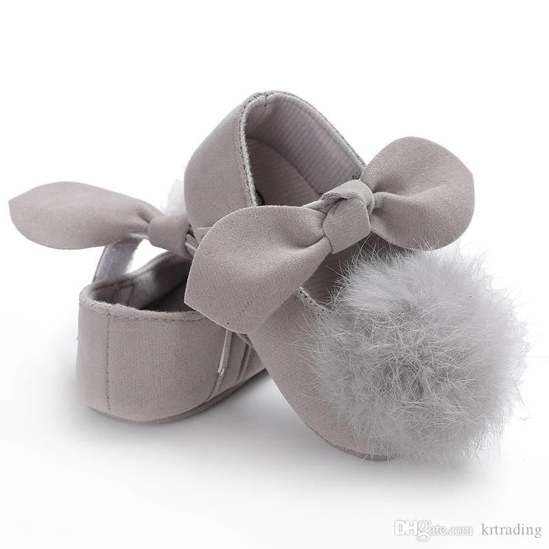 Baby Girls big Plush Pompon bow princess shoes 7 solid colors cute infants soft sole first walkers 3 sizes toddlers princess dresses shoes
