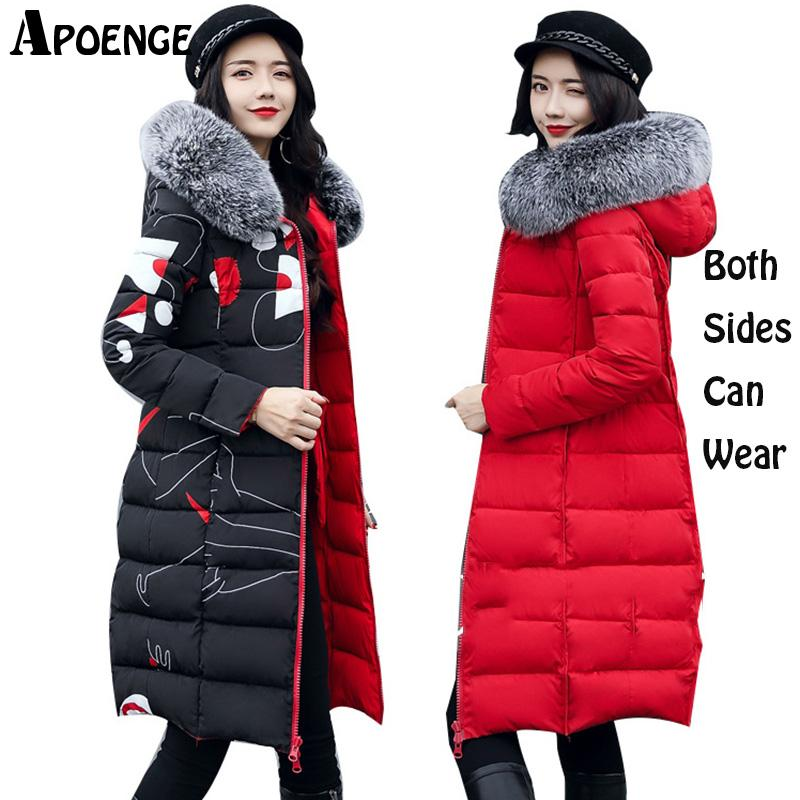APOENGE Parka Mujer 2017 Winter Hooded Long Jacket Coat With Fur Collar Special Design Both Sides Can Wear Cotton Padded QN493