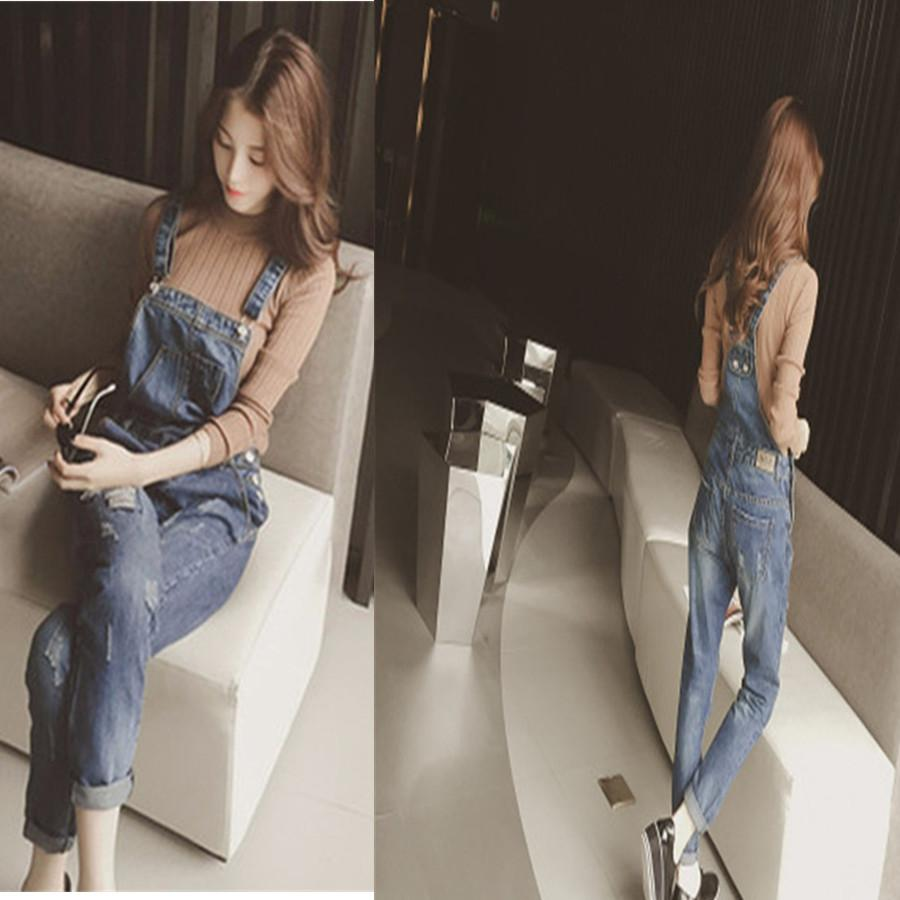 73ba765597e4 2019 Women Jumpsuit Denim Overalls 2018 New Spring Autumn Strap Ripped  Pockets Full Length Denim Jeans Jumpsuit From Chenhanyang