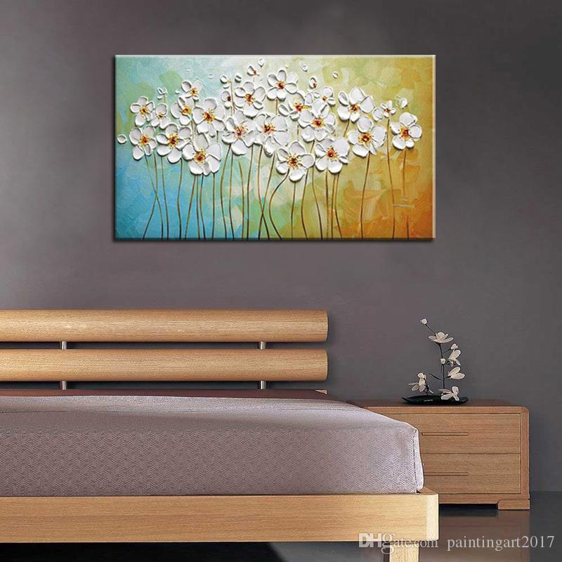 Hand Painted Palette Knife White Flowers Oil Painting Abstract Modern Canvas Wall Art Living Room Decor Picture painting
