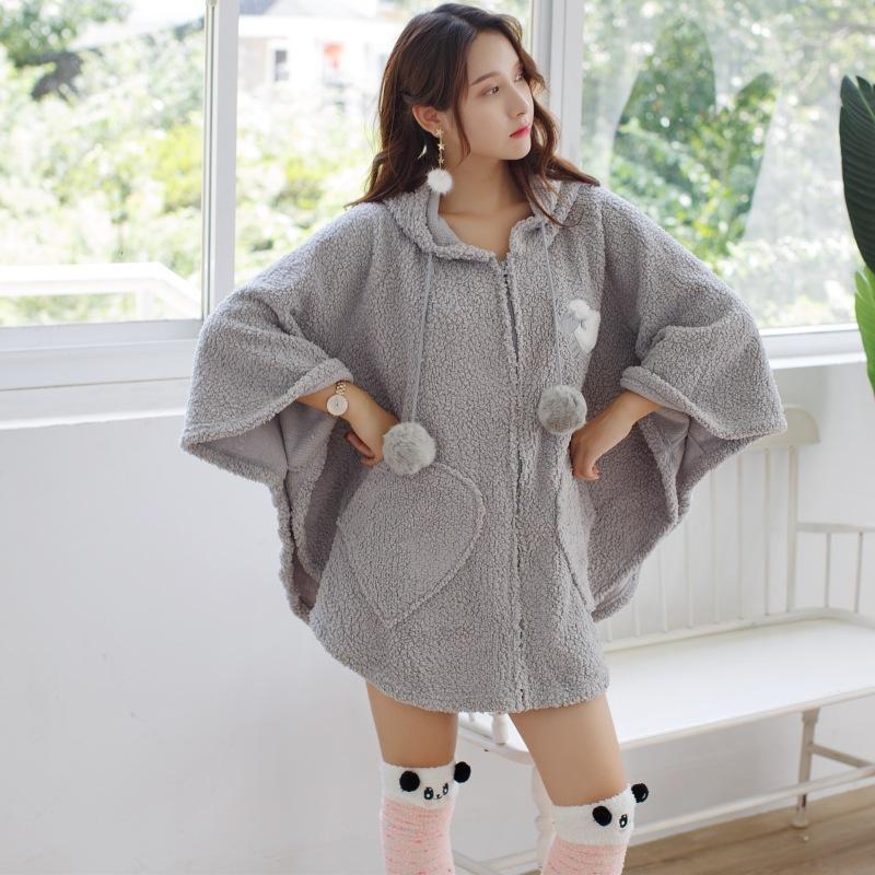 8d55ba3ca513 2019 Women S Thick Flannel Hooded Plush Robe 2018 Winter Cartoon ...