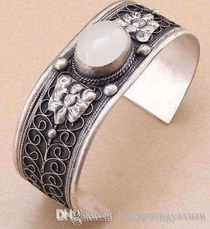 Charm White Moonstone Cuff Bracelet Tibet Silver Carved Flower