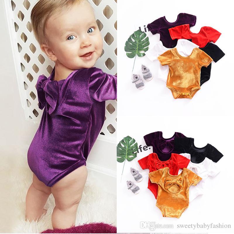 8f5990325 2019 Casual Spring Autumn Romper Baby Girls Short Sleeve Velvet ...