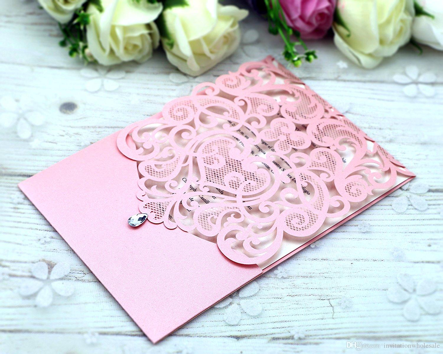 New Style Pink Personalized Free Print Laser Cut Cards With Crystal