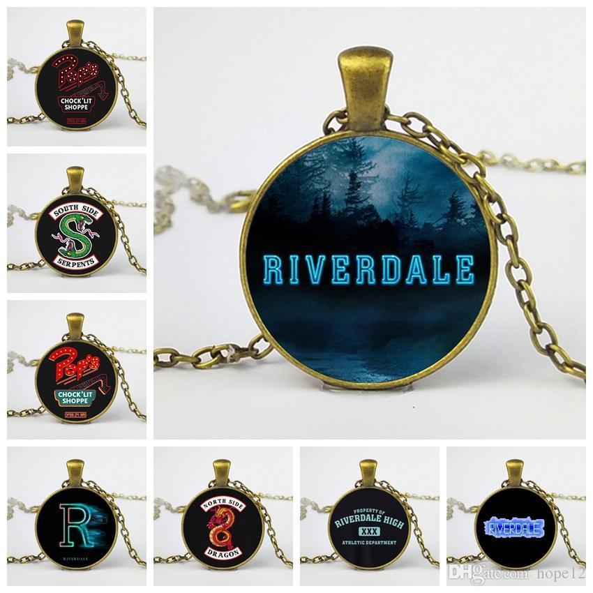 Nueva Moda Riverdale Collar Cabujón de Cristal de Foto Personalizado Cadena Larga Pareja Collares Colgantes Mujeres Hombres Joyería Envío Gratis