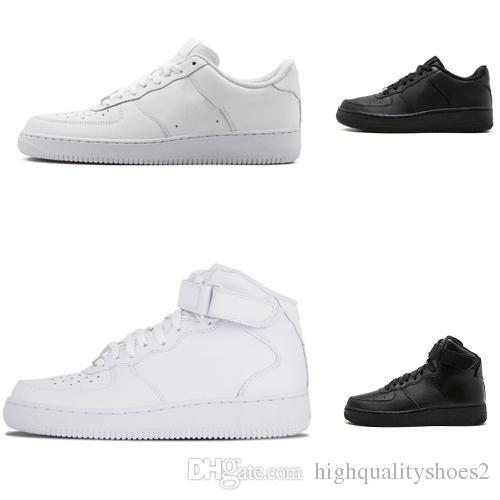 100% authentic 9909a c00d3 Acheter Nike Air Force One 1 Classique Tous Blanc Noir Gris Bas Haute Coupe  Hommes Femmes Espadrilles De Sport Chaussures De Course Un Patin Chaussures  US ...