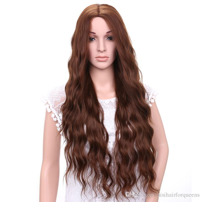 AISI HAIR Long Curly Wavy Wigs For Woman Long Brown Middle Part Hair No  Bangs Cruly Hair Natural Synthetic Fiber Wigs Are Synthetic Wigs Good Short  Lace ... 9ee44af2c05e