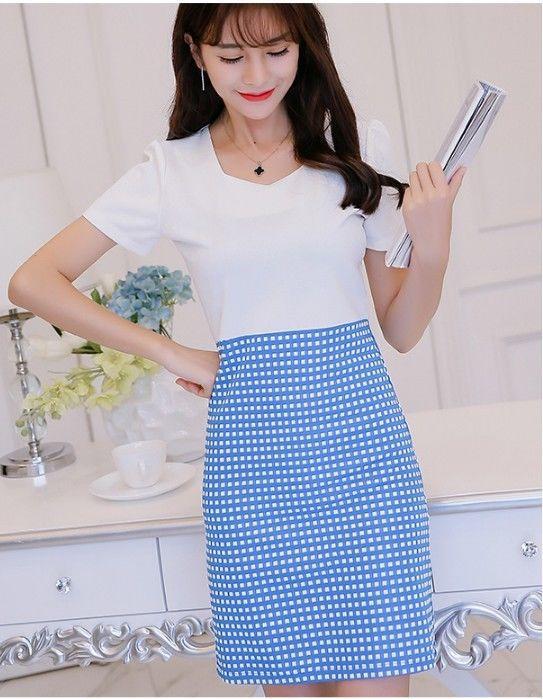 4b5c8f4f152 Lovely Sweet Short Sleeve Dot Printed Slim OL Korean Fashion Summer Shirt  Dress Online with  10.45 Piece on Angelsdress s Store