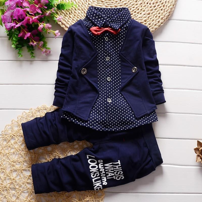 bc680b9a51d60 2pcs Baby Boy Clothes Toddler Outfits Infant Tuxedo Formal Suits Set Shirt  + Pants Spring Autumn Children Clothing Baby Boys Clothing Set