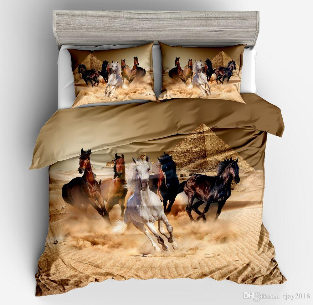 Kids 3D Horse Duvet cover Bedding set King Queen Full1 Duvet Cover + 2 Pillowcases/Twin Size1 Duvet Cover + 1 Pillowcaseno Comforter