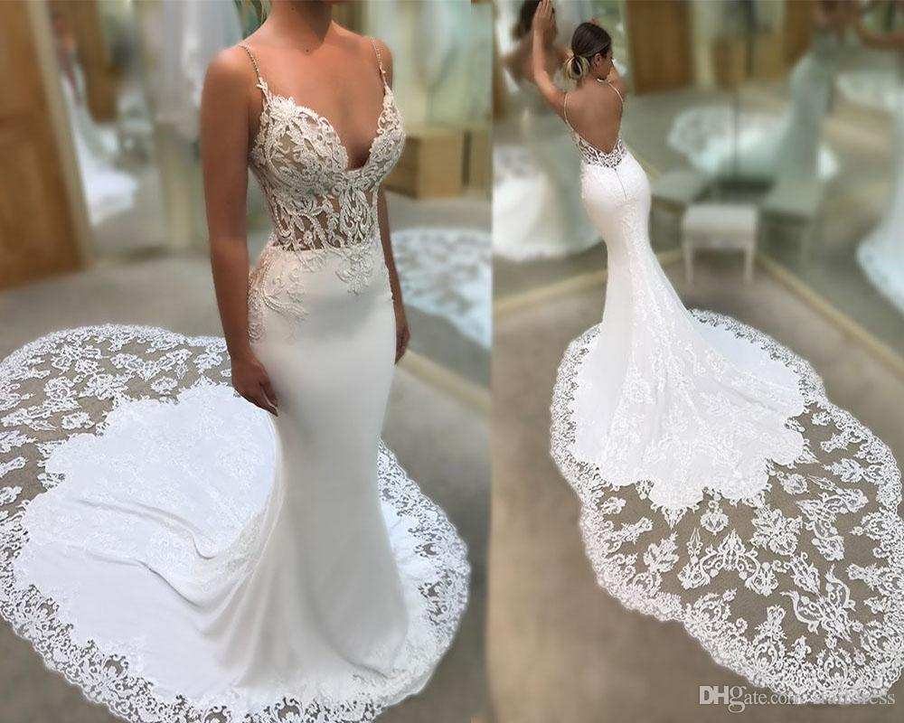 Sexy Spaghetti Straps Mermaid Wedding Dress Beach Backless Chapel Train Lace Applique Bridal Gowns Vintage Garden Summer Custom 2018