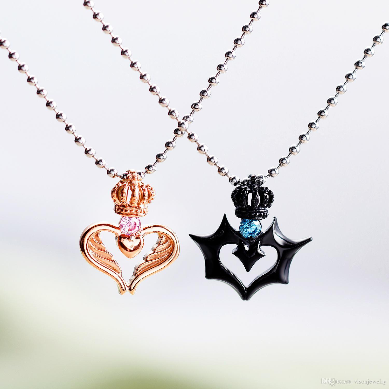 Ensemble de 2 collier personnalisé son roi sa reine couronne en acier inoxydable et son collier de coordonnées