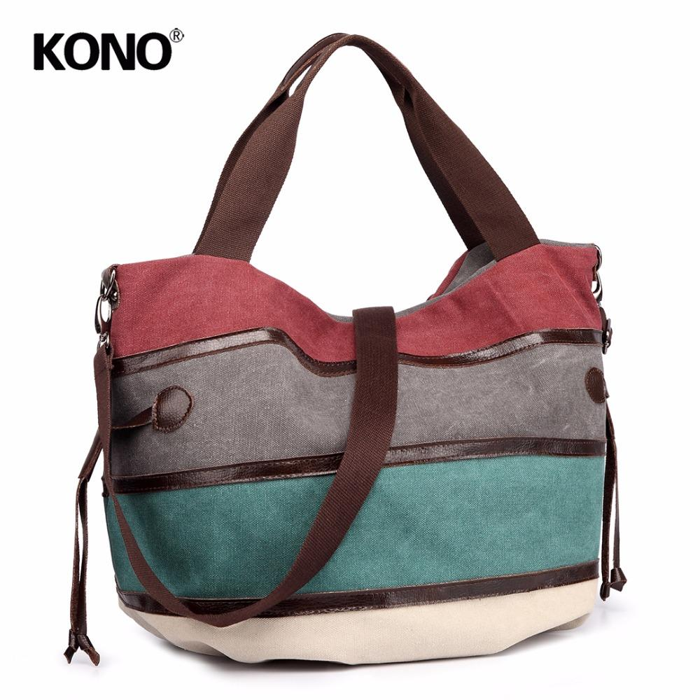 66b0255011 Buy 1 Get 1 At 50% Off KONO Women Handbags Shoulder Bags Canvas Rainbow  Stripes Cross Body Bags For Girls Messenger E1737 Ladies Handbags Leather  Handbags ...