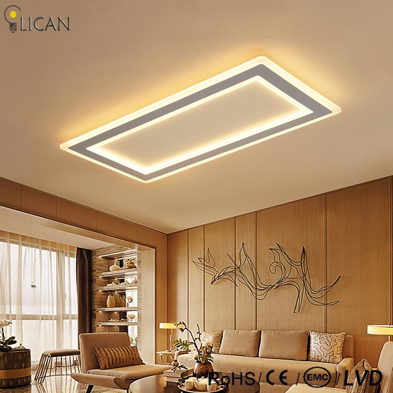 2018 Lican Modern Led Ceiling Lights Living Room Bedroom Abajur Luminarias Re De Plafond 110v 220v Rectangle Lamp Dimming From Grege