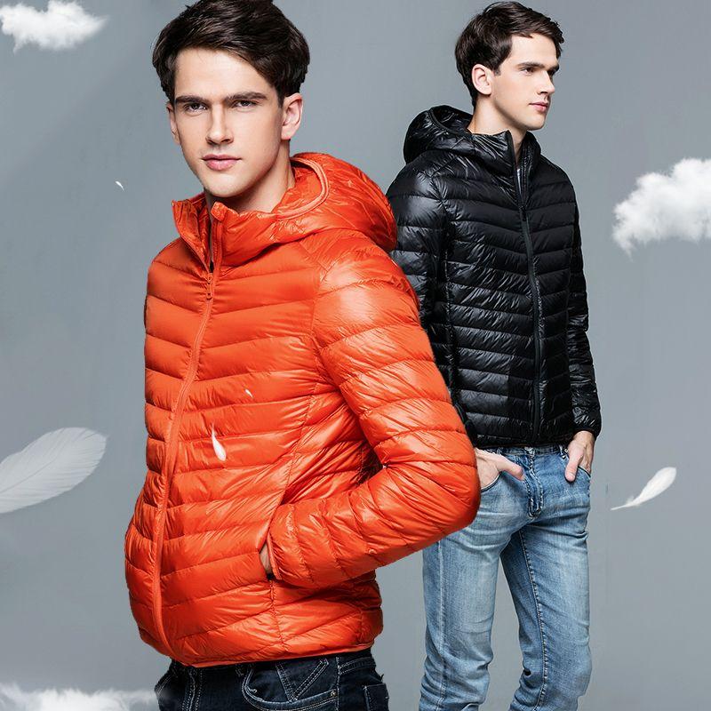 Men's Clothing Jackets & Coats Man Winter Autumn Jacket 90% White Duck Down Jackets Men Hooded Ultra Light Down Jackets Warm Outwear Coat Parkas Outdoors