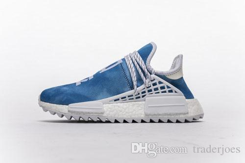 1ee26afc7a896 With Box 2018 Human Race Peace Blue Sneakers Mens And Womens Running Shoes  For Men Sports Shoes Hu Trail Black Purple Size US5 12 Men Sports Shoes  Shoe ...