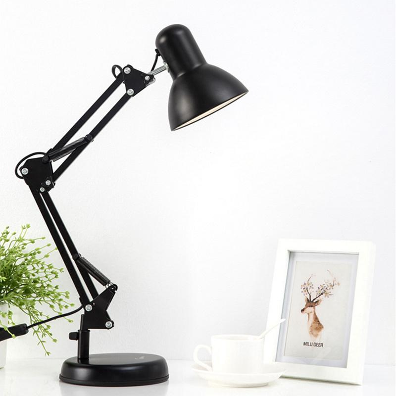 Flexible Swing Arm Clamp Mount Desk Lamp 110V-240V Black Table Light Reading Lamp For Home/ Office/ Studio/Study