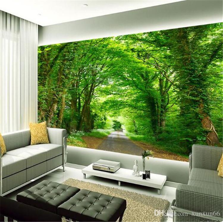 Acheter 3d Photo Murale Papier Peint Vert Arbre Nature Paysage