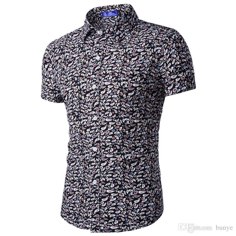 25077fcfeef 2019 Wholesale Small Flower Print Mens Fashion Shirt 2017 Short Sleeve Summer  Hawaii Beach Shirts Classic Pattern European And American Style From Bunye