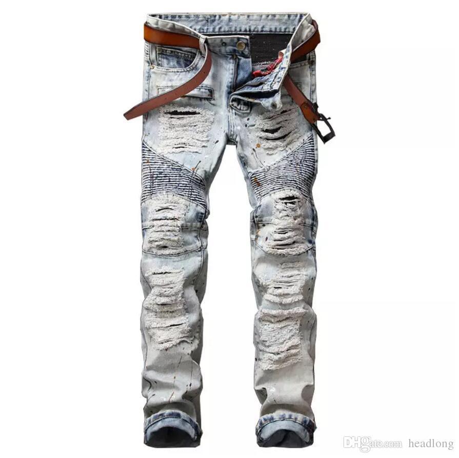 d79a88554645 NEW Ink Biker Men Jeans Homme Hi Street Hole Slim Fit Distressed ...