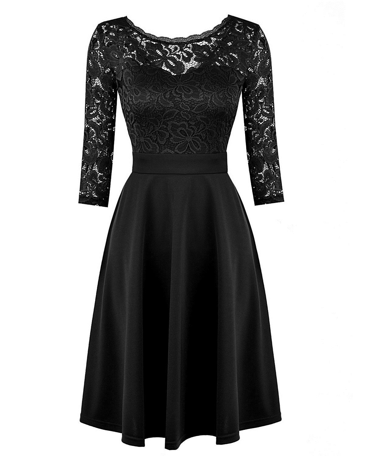 714cad7477 2019 Women OL Sexy Lace Dress Lace 3 4 Sleeve High Waist A Line Dress  Black Blue White Yellow Sheer Lace Splice Summer Dress Casual Evening  Dresses Womens ...