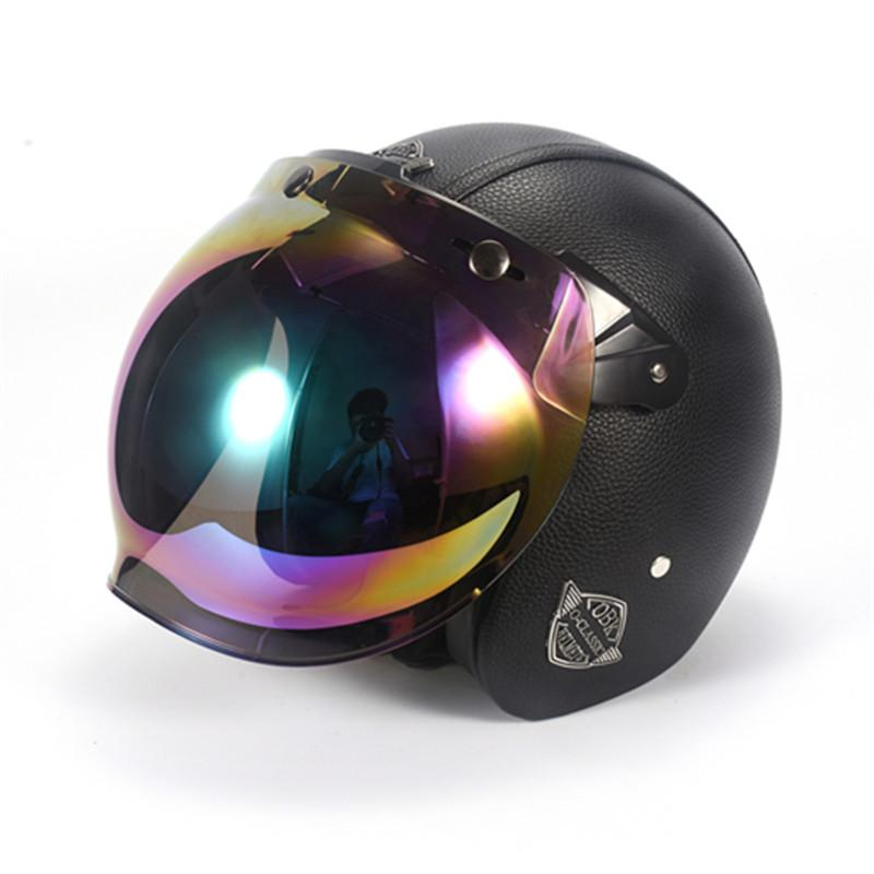 Obk Leather Harley Helmets 3 4 Motorcycle Chopper Bike Helmet Open
