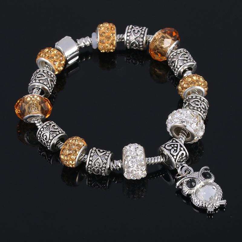 Braccialetto d'argento placcato di nuovo modo 2016 con il pendente del gufo perline di cristallo europeo di vetro adatto braccialetti di fascini di stile di DIY la donna