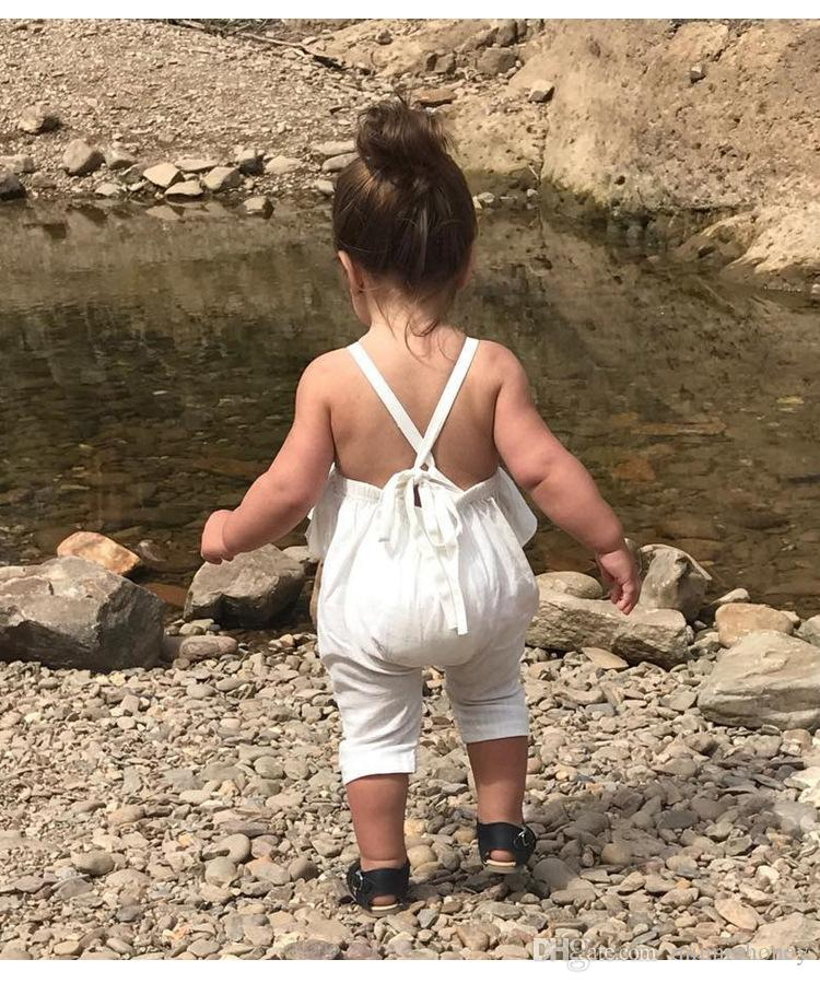 2018 Brand New Kids Baby Girls Clothes Children Girls Jumpsuit Romper Simple Style Backless Strapped Dress 1-5 Years