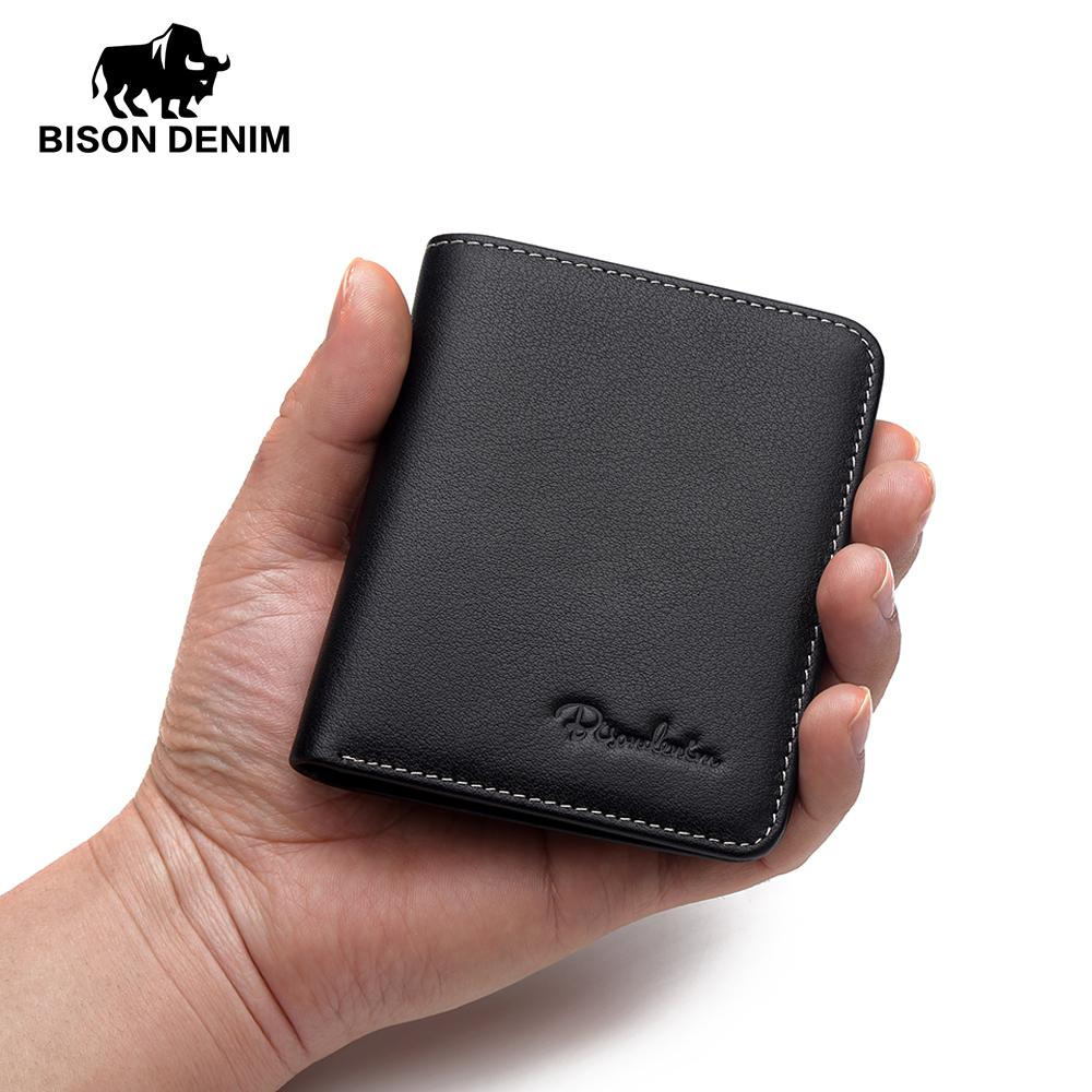 BISON DENIM Black Purse For Men Genuine Leather Men S Wallets Thin Male  Wallet Card Holder Cowskin Soft Mini Purses N4429 Purses And Wallets Buy  Wallet From ... e735406cf797e