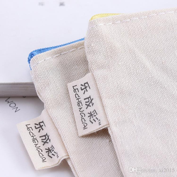 Lona de lona em branco com zíper sacos de lápis de algodão puro bolsas de caneta Sacos de cosméticos 20.5x13 cm frete grátis wen6575