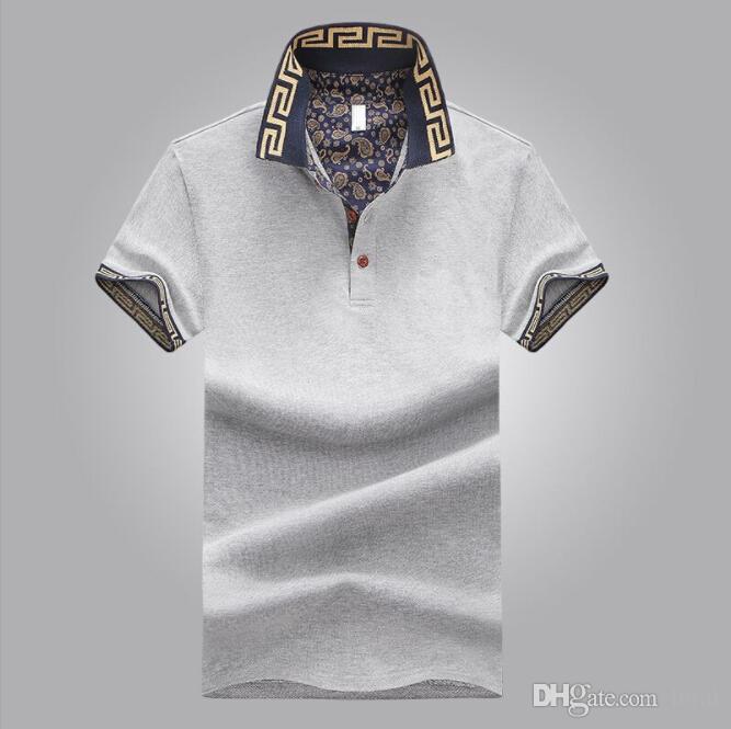 Мужские Роскошные Дизайнерские Рубашки Мужские Летние Отложным Воротником С Коротким Рукавом Хлопок Рубашки Мужчины Повседневная Поло Топы