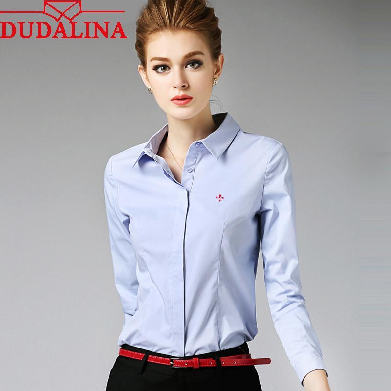 Compre Dudalina Bordado Camisas Femininas Senhora 2018 Corpo Blusas  Femininas Camisas Mulheres Manga Comprida Tops Roupas Camisas Plus Size  Y1891302 De ... b8431aa9297a0