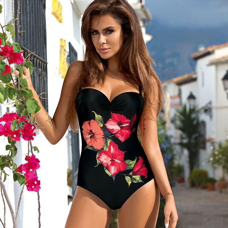 5289a7259 2019 Plus Size Swimwear 2018 Sexy One Piece Swimsuit Push Up Beach Wear  Print Bathing Suit Backless Monokini Maillot De Bain Femme From  Angelyanyan