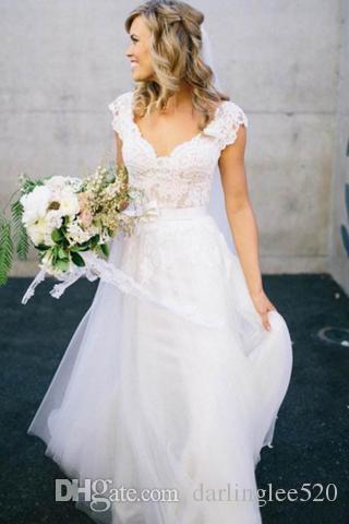 e8bda7ccf225 Discount Boho Wedding Dress Sweetheart Neckline Short Sleeve Sash Tulle  Floor Length 2019 Lace Wedding Dress Bridal Gowns Vestido De Novia Garden  Bridal ...