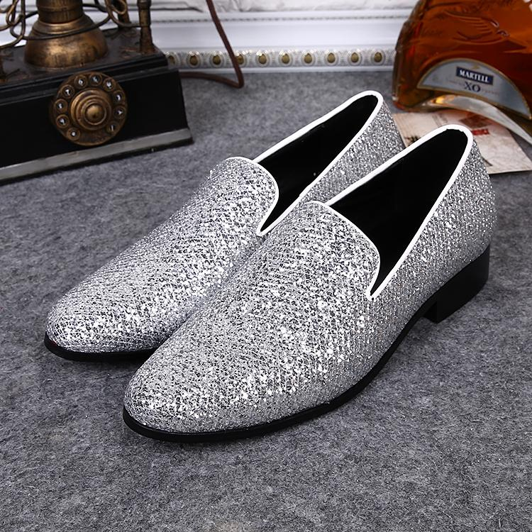 Mens Wedding Dress Shoes Bling Glitter Stage Shoes Silver Leather ...