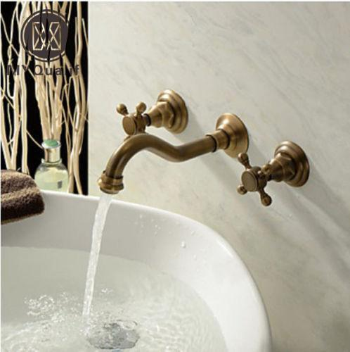Attrayant 2018 Wall Mount Dual Handles Brass Antique Basin Sink Faucet 3 Holes  Bathroom Vessel Sink Mixer Taps From Hymen, $75.98   Dhgate.Com