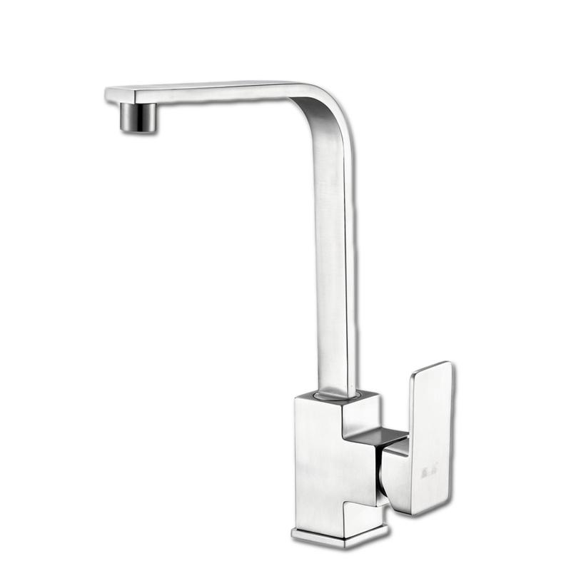 Square 304 Stainless Steel Kitchen Sink Faucet with Single Handle ...
