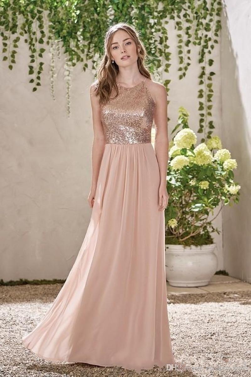 Ouro elegante Rose Sequins Chiffon longos vestidos da dama Halter Backless Straps Ruffles convidado do casamento Plus Size empregada doméstica de honra vestidos BM0154