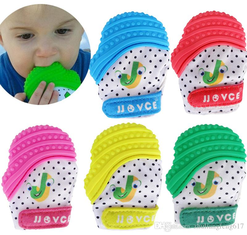 Silicone Baby Pacifier Mitt Teething Mitten candy Teething Glove Wrapper sound Teether Beads Free Pastel 3-12 months