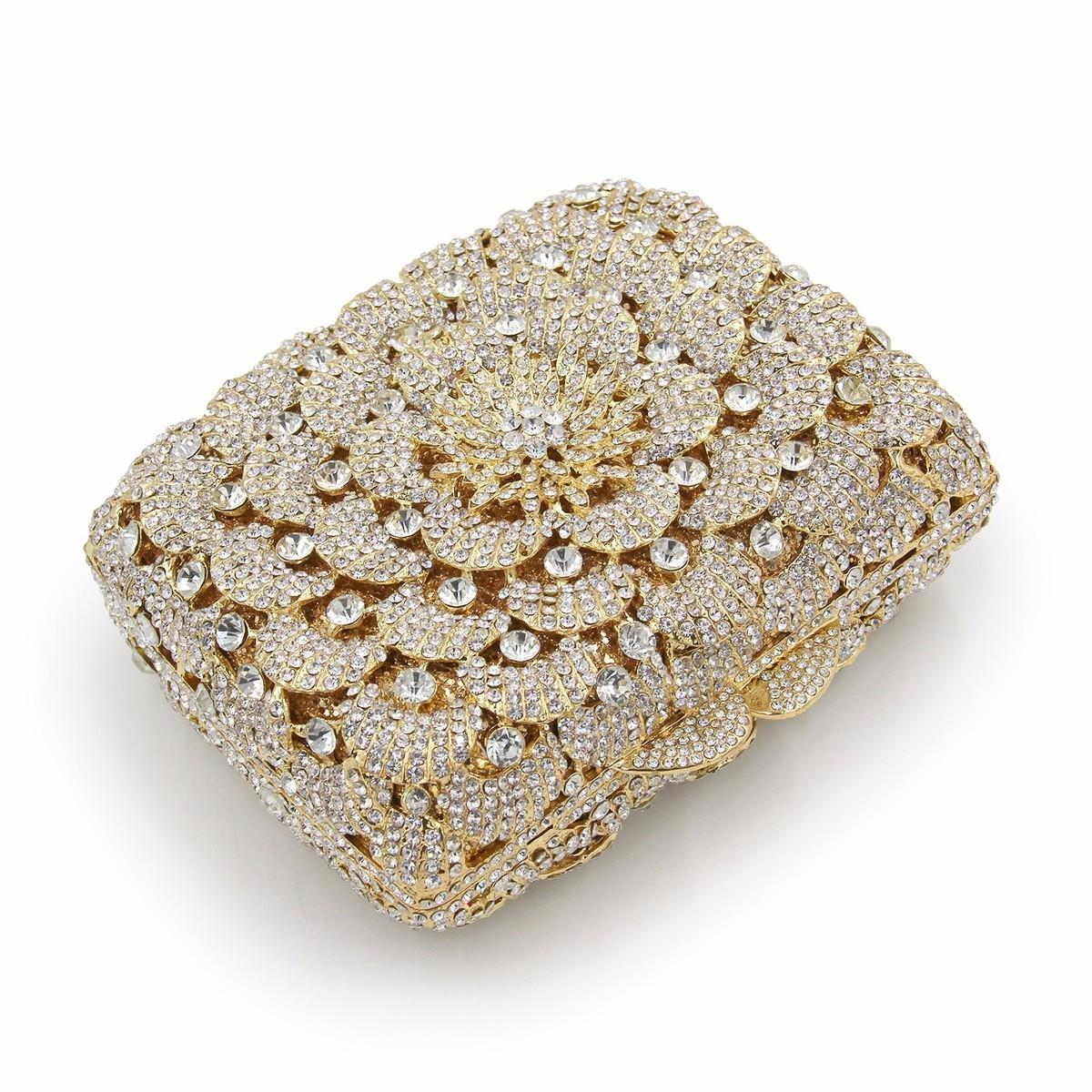 Mystic River 2018 Flower Evening Clutch Ladies Wedding Crystal Clutches Bags Girls Day Gold Purses Female Party Bag