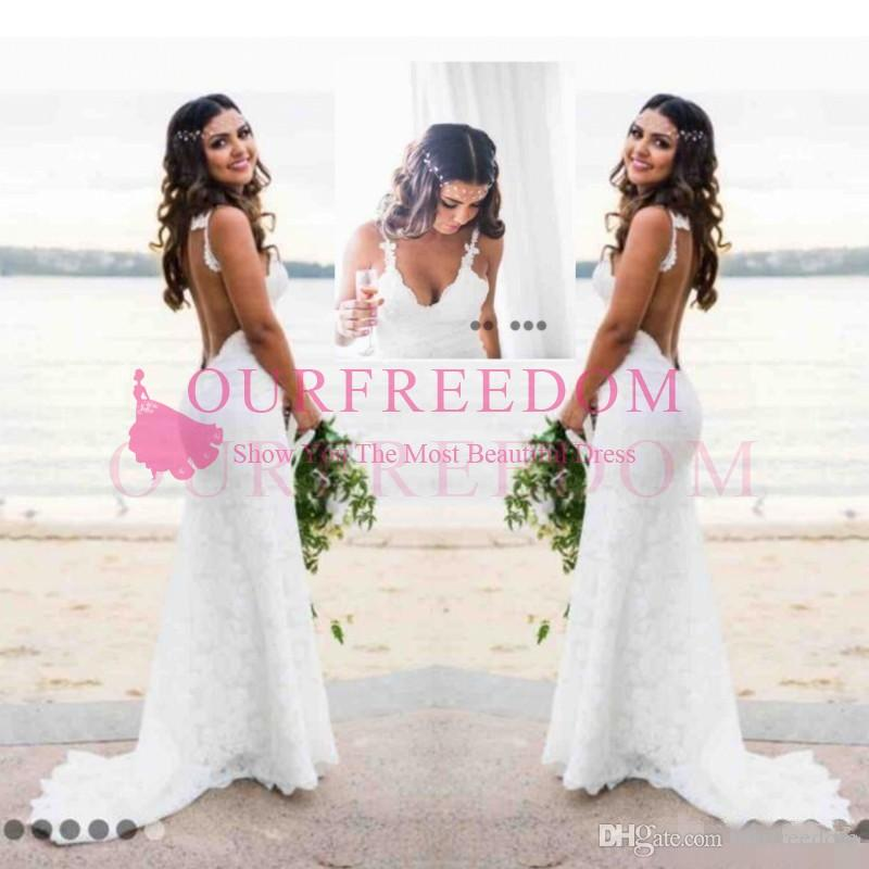 Katie May Mermaid Beach Lace Wedding Dresses 2019 Modest Fashion Spaghetti Backless Country Bohemian Fishtail Bridal Holiday Dress