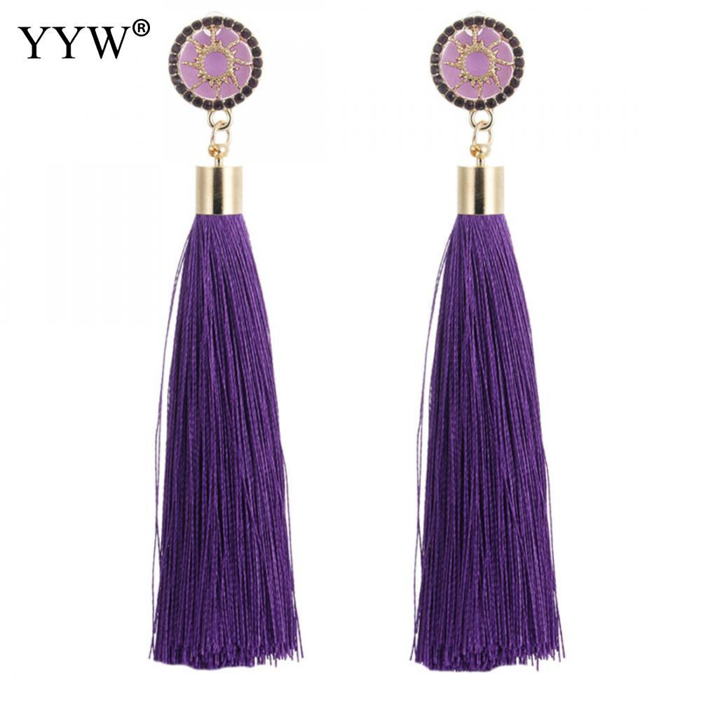 22a6b440c0f Bohemian Ethnic Tassel Earrings Silk Fabric Long Drop Dangle Black White  Pink Purple Red Yellow Tassel Earring For Women Jewelry