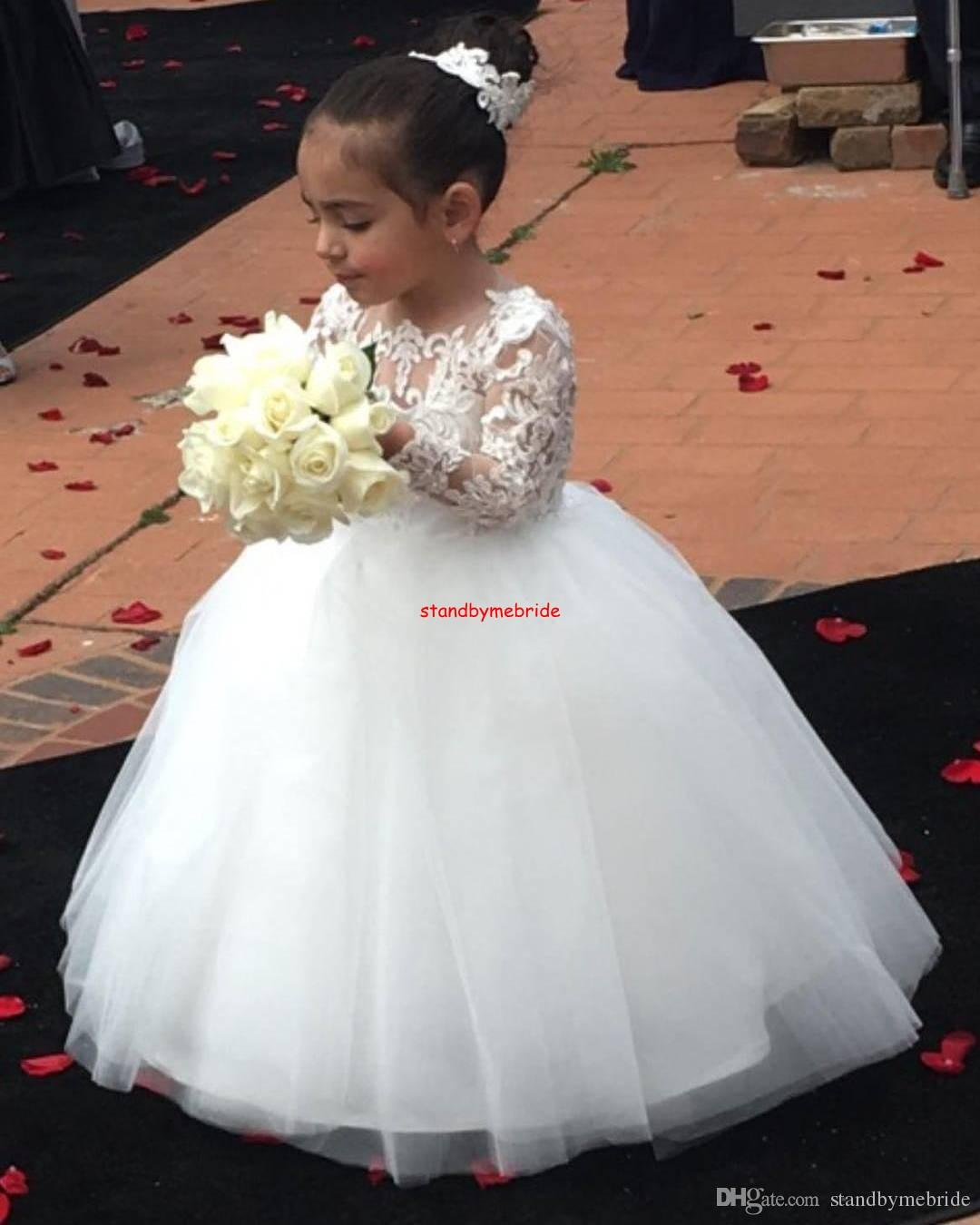 White Ball Gown Flower Girl Dresses Long Lace Sleeves Floor Length Flower Girl Dress First Communion Dress 2018 Girls Birthday Party Gowns