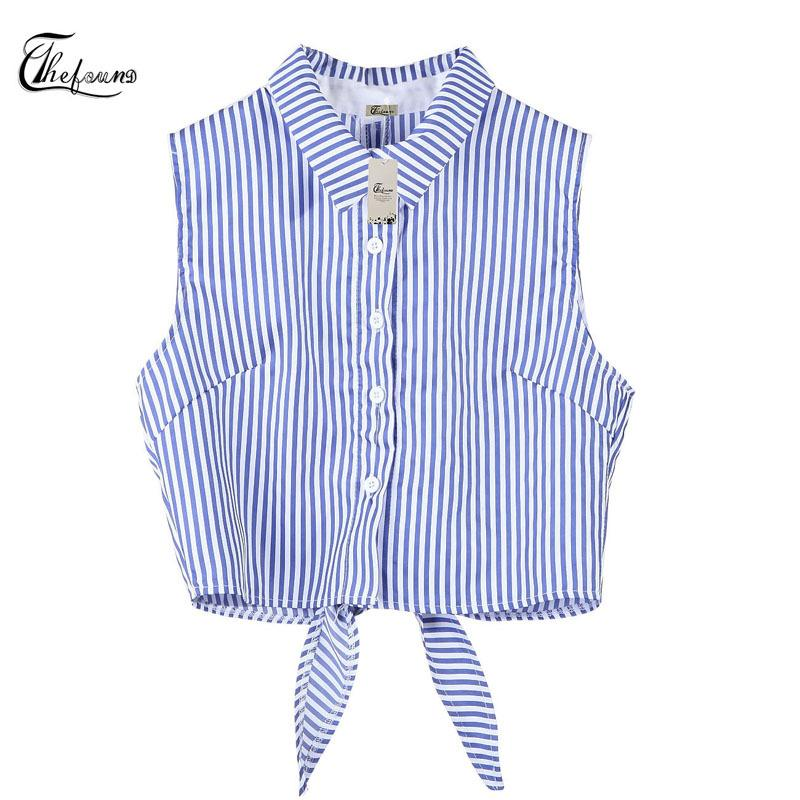 47b7a96c594 Sexy Fashion Causal Women Summer Tops Sleeveless Turn-Down Collar Short  Length Blue Striped Single Breasted Back Belt Vest Tops