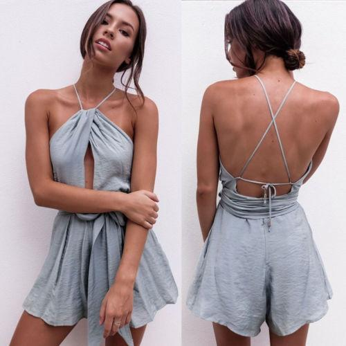 6fe8d47f0389 Summer Women Holiday Jumpsuit Playsuit Mini Shorts Beach Party Sleeveless  Backless Romper Sexy Bodysuits Christmas Party Dresses Night Dress From ...
