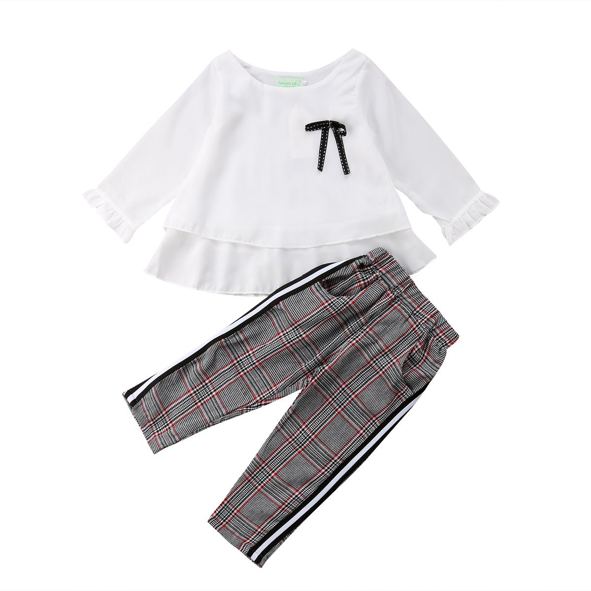 6c181fa04 2019 Girl Suits Toddler Kid Baby Girl White Chiffon Tops T Shirt+ ...