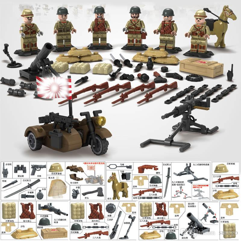 WW2 Sino-Japanese War Japanese Army Mini Soldier Doll Weapons TaiErZhuang  Military Building Blocks Toy Gift for Boy