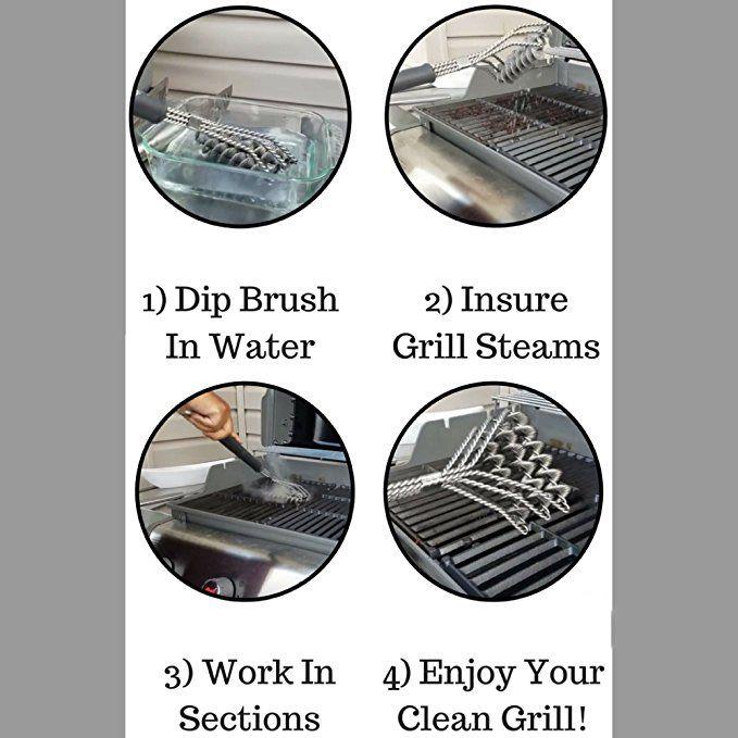 Quente Resistente Ao Aço Inoxidável Barbecue Escova de 18 polegada de Três Fios de Mola Com Alça Durável Não-stick Escova De Limpeza De Grill
