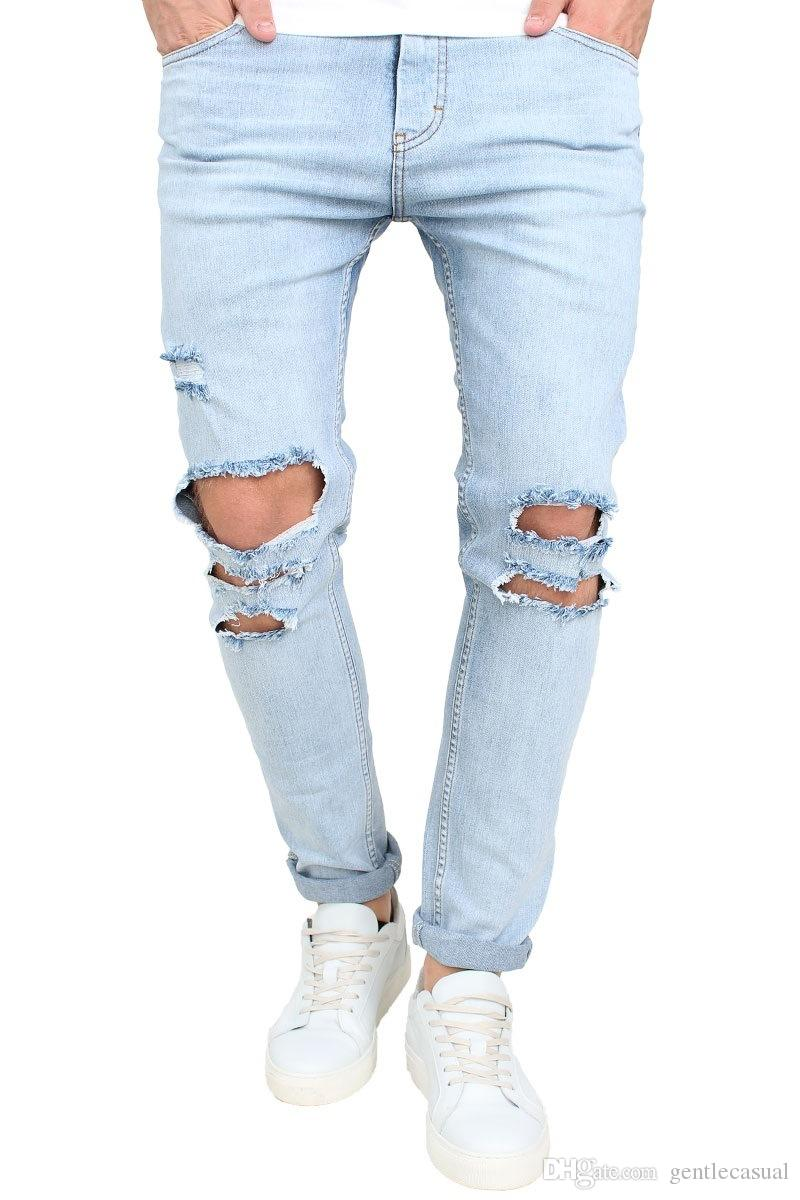 4fd22055b552 2019 Summer Men Clothing Knee Holes Jeans High Street Long Skinny Trousers  Male Jeans From Gentlecasual